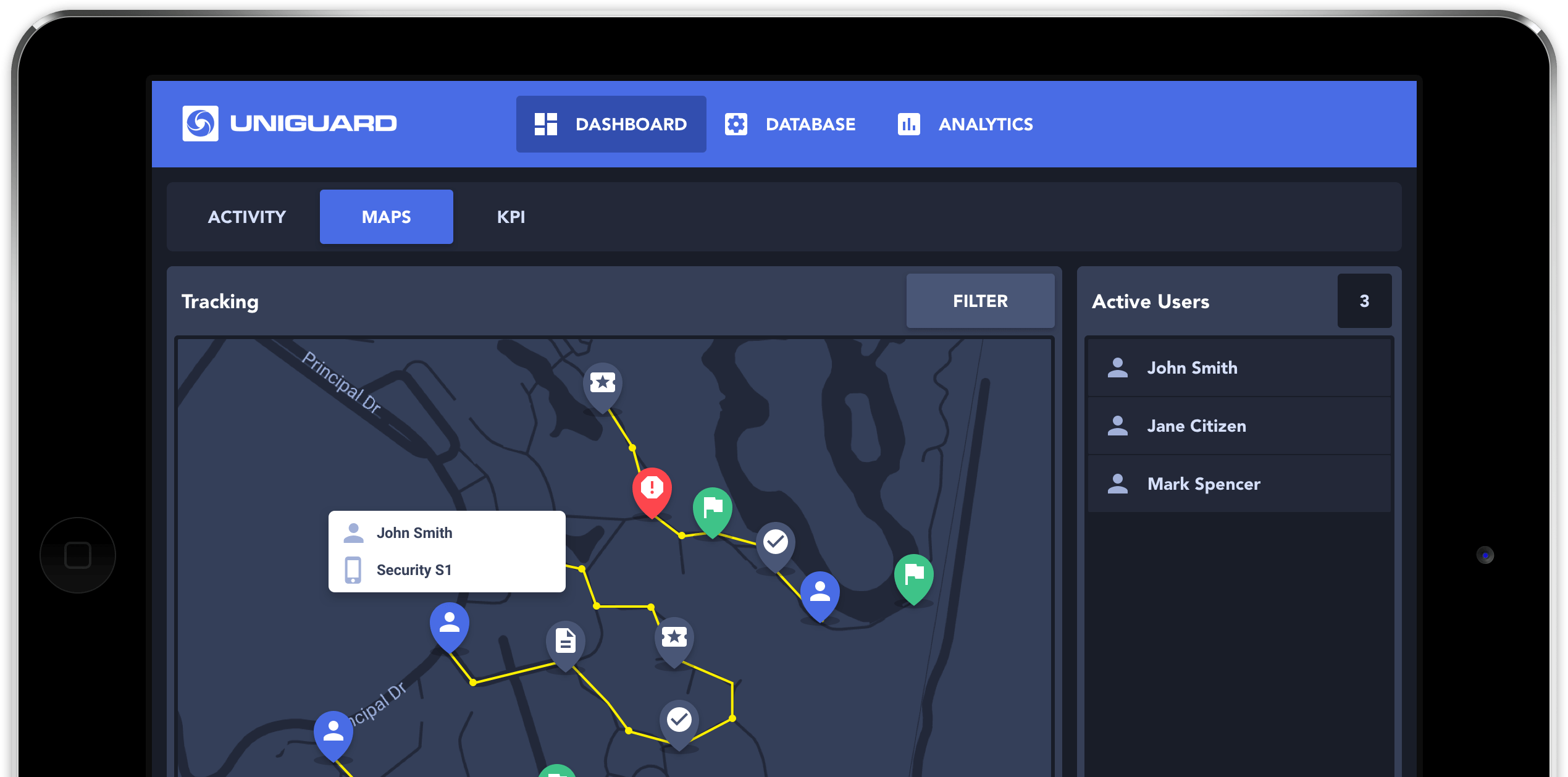 UniGuard Web Dashboard Live GPS Tracking