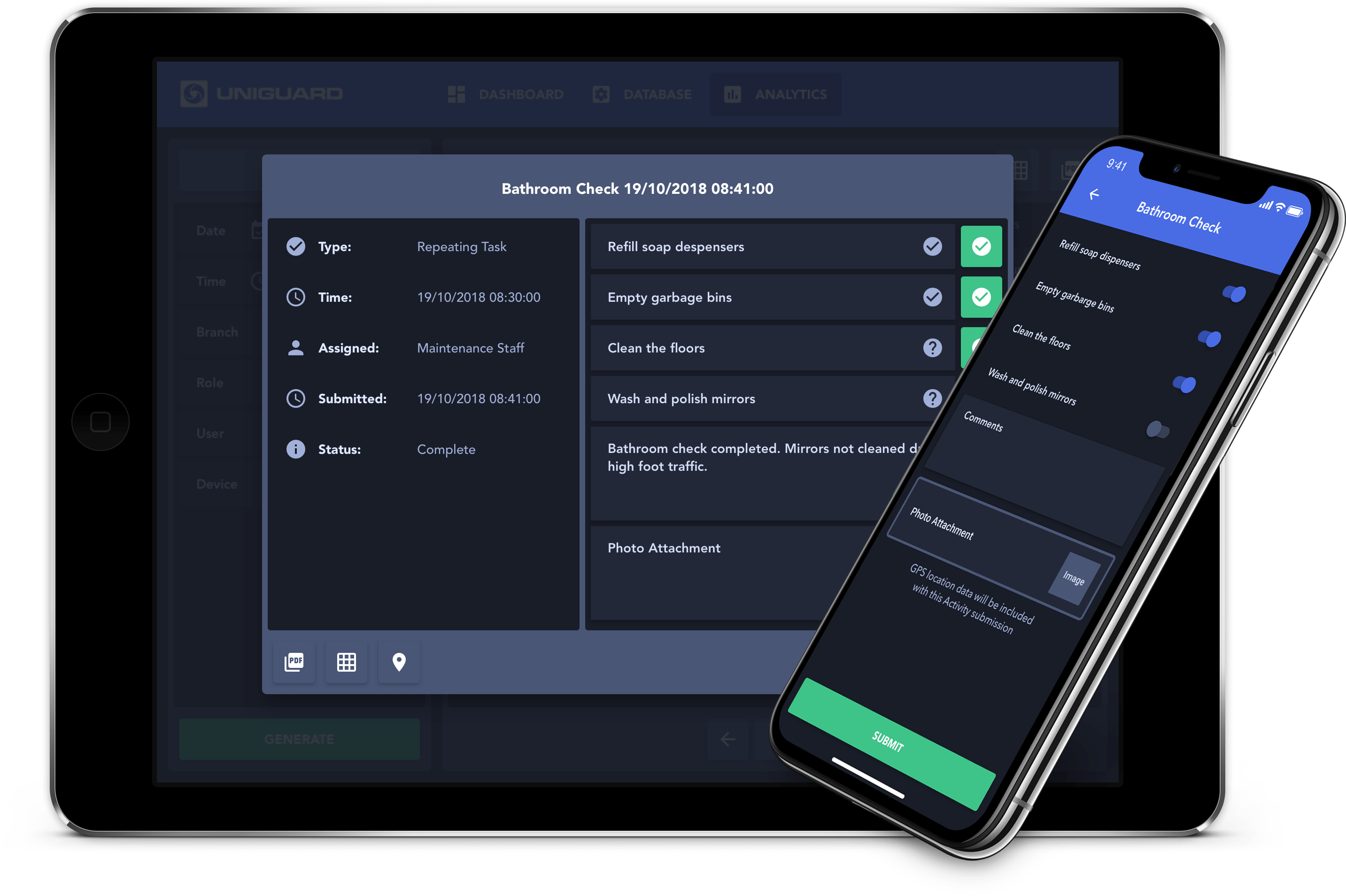 UniGuard Web Dashboard Tasks & Mobile App
