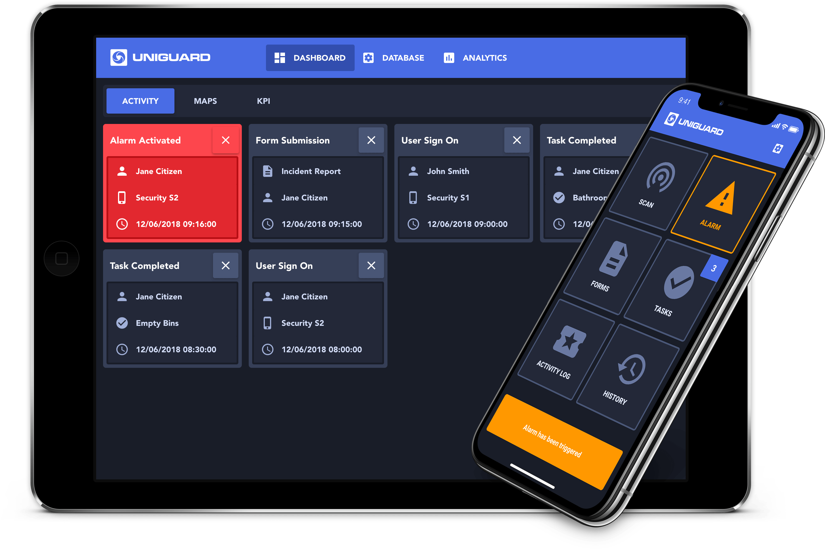 UniGuard Live Dashboard Web & Mobile