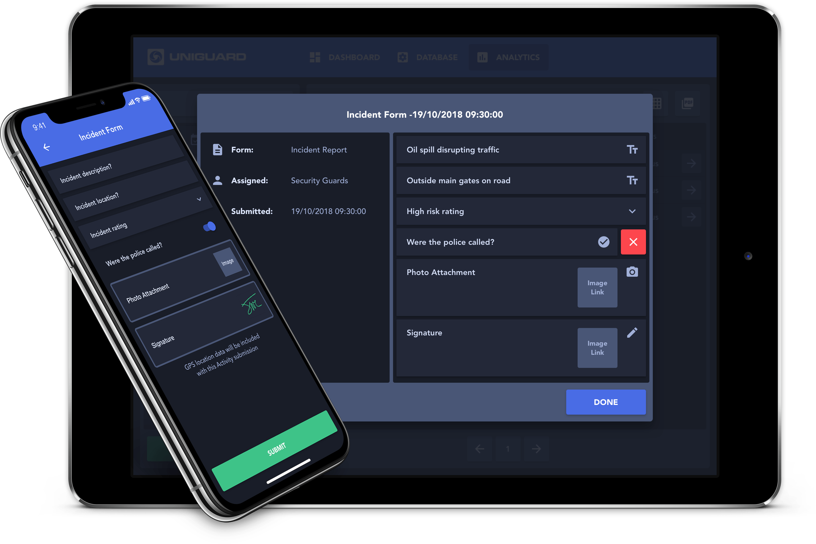 UniGuard Web & mobile Incident Form