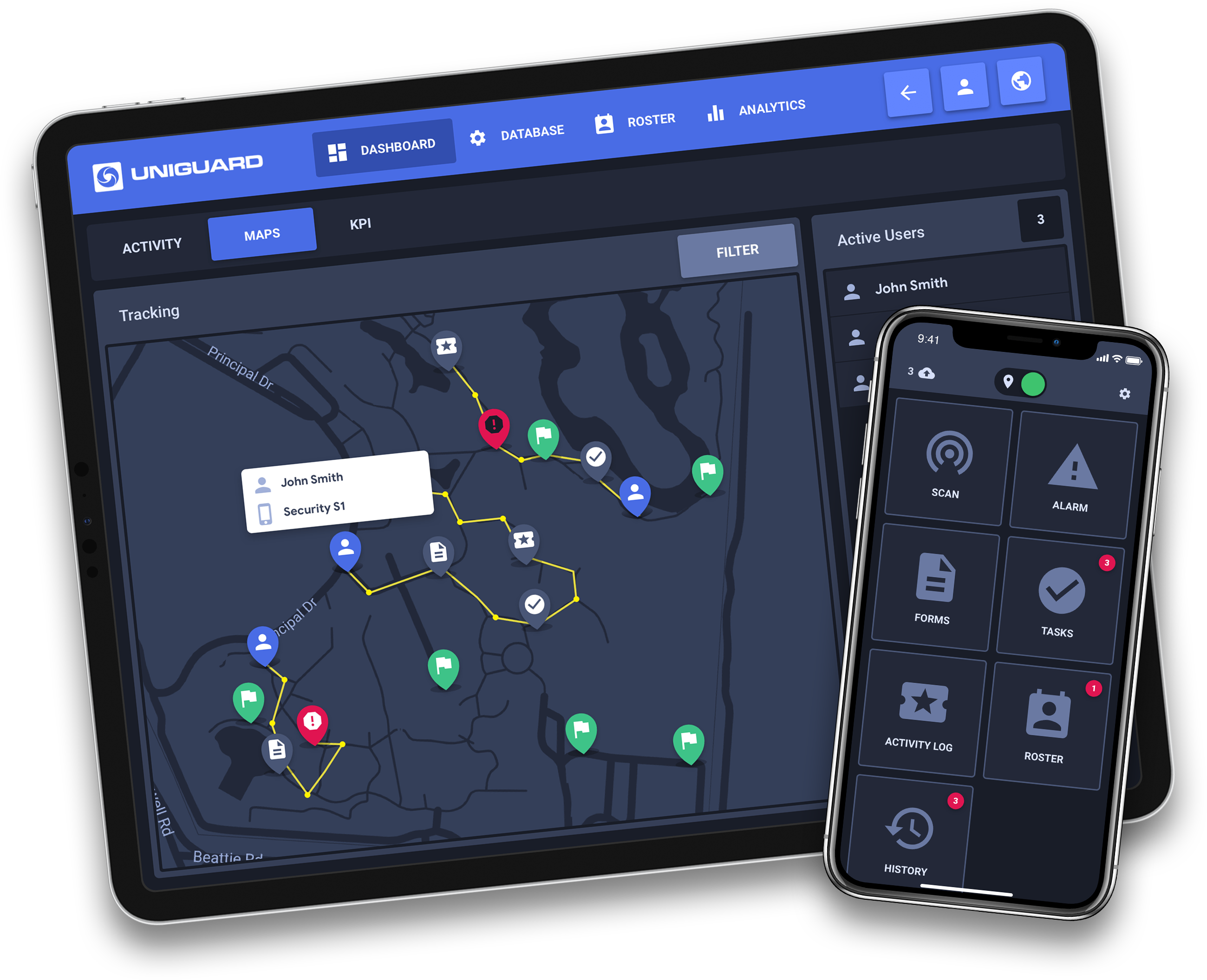 uniguard GPS live tracking with mobile app